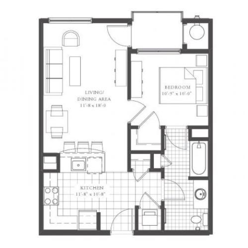 A2- ONE BEDROOM ONE BATH 686 SQ FT