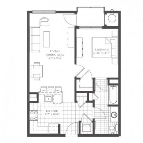 A3- ONE BEDROOM ONE BATH 737 SQ FT