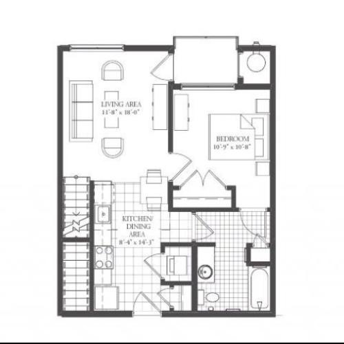 A4- ONE BEDROOM WITH LOFT ONE BATH 912 SQ FT
