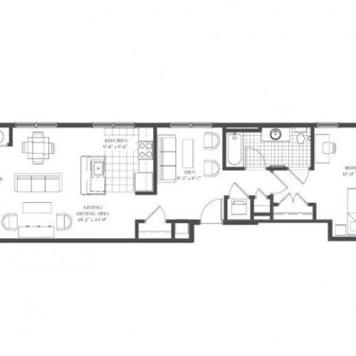A5- ONE BEDROOM WITH DEN ONE BATH 940 SQ FT