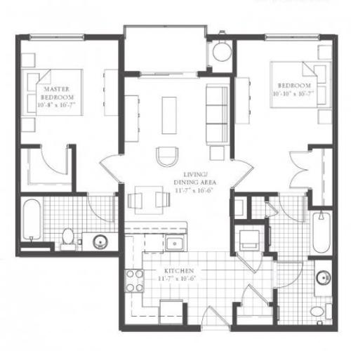 B1- TWO BEDROOM TWO BATH 1011 SQ FT