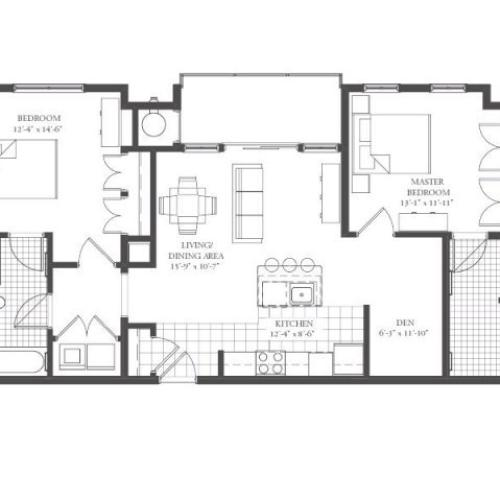 B3- TWO BEDROOM WITH DEN 2 BATH 1131 SQ FT