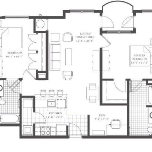 B6- TWO BEDROOM TWO BATH 1204 SQ FT