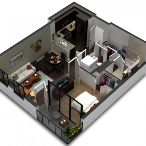 1 Bedroom Floor Plan B2