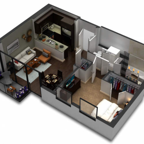1 Bedroom Floor Plan B7c