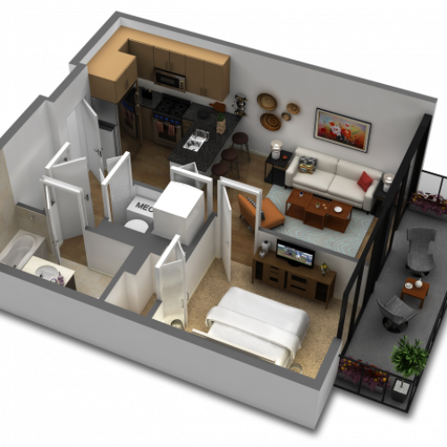 1 Bedroom Floor Plan B1