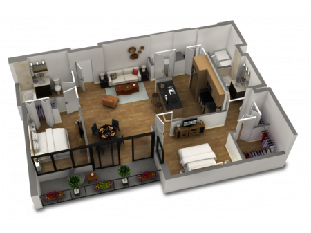 2 Bedroom / 2 Bath Floor Plan C2