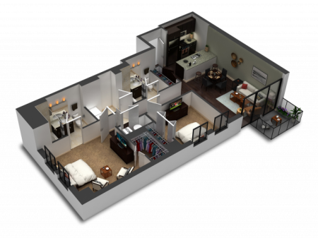 2 Bedroom / 2 Bath Floor Plan C3