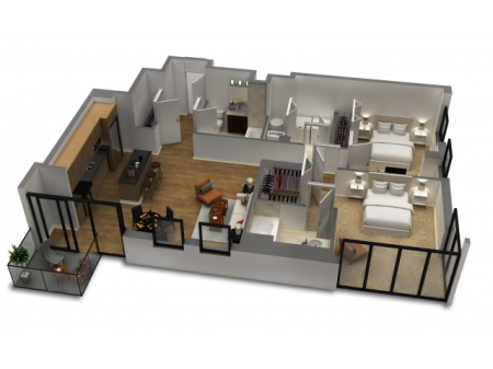 2 Bedroom / 2 Bath Floor Plan C4