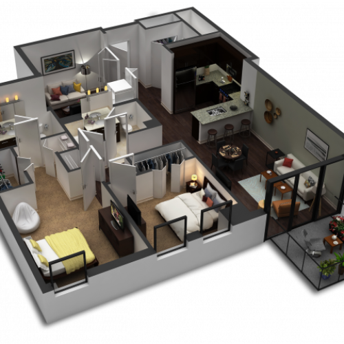 2 Bedroom / 2 Bath Floor Plan C6
