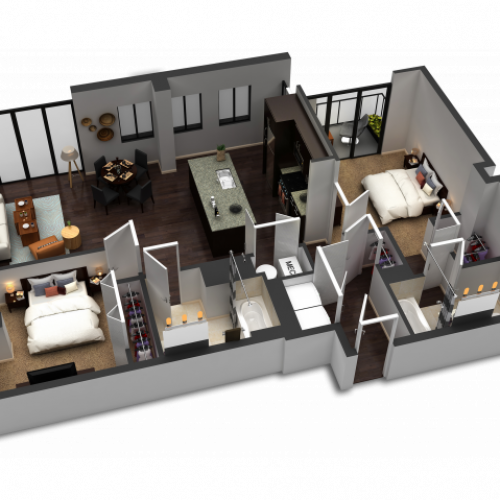 2 Bedroom / 2 Bath Floor Plan C7
