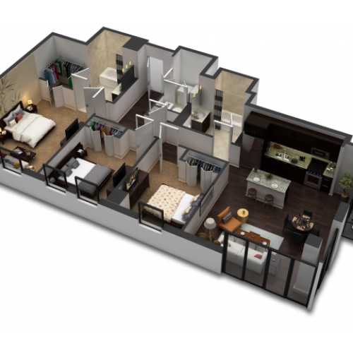 3 Bedroom / 2 Bath Floor Plan D2