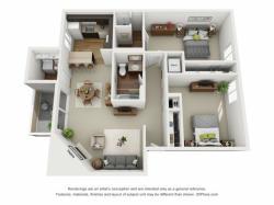 Conifer floorplan 2 bed 2 bath 1043 sqft