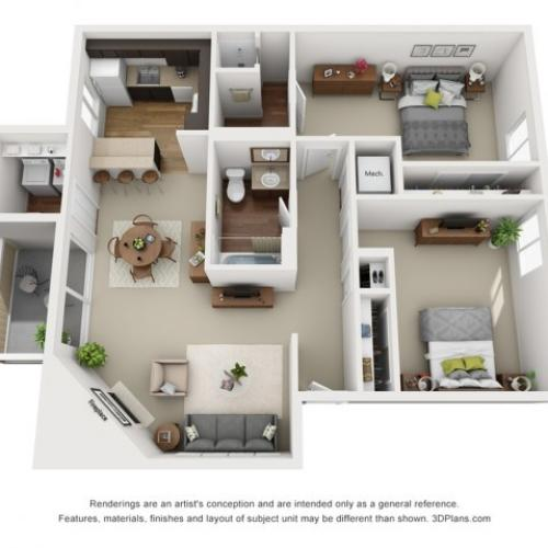 Conifer floorplan 2 bed 2 bath 1043 sqft