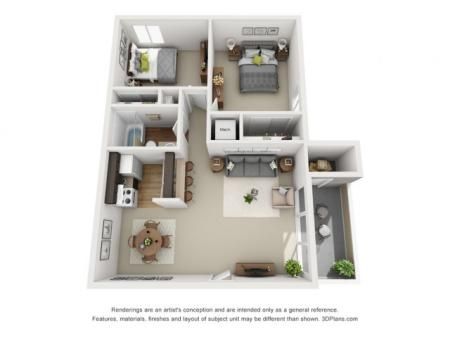 Bluespruce Floorplan 2 bed 1 bath 840 sqft