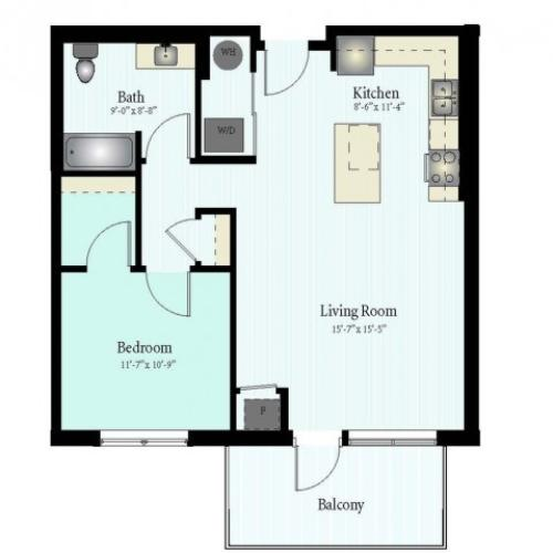Floor Plan 24 | 1 Bed 1 Bath Floor Plan The Grove 18