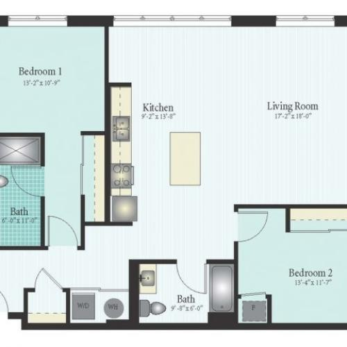 Floor Plan 47 | 2 Bed 2 Bath Floor Plan The Oak View 20