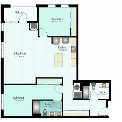 Floor Plan 35 | 2 Bed 2 Bath Floor Plan The Oak View 16