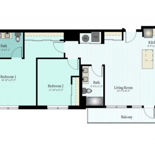 Floor Plan 36 | 2 Bed 2 Bath Floor Plan The Oak View 4