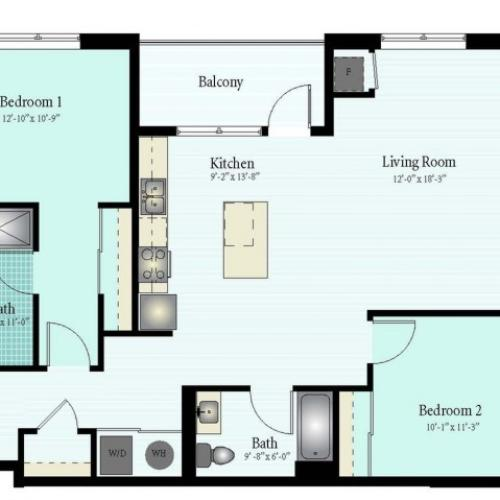 Floor Plan 39 | 2 Bed 2 Bath Floor Plan The Oak View 6