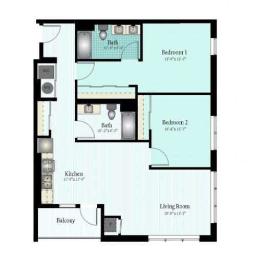 Floor Plan 46 | 2 Bed 2 Bath Floor Plan The Oak View 2