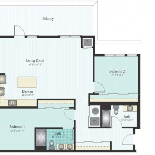 Floor Plan 38 | 2 Bed 2 Bath Floor Plan The Oak View 13