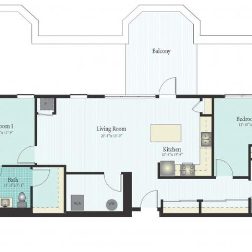 2 Bdrm Floor Plan | Apartments In Glenview | Midtown Square