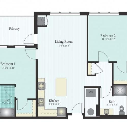 Floor Plan 41 | 2 Bed 2 Bath Floor Plan The Oak View 3
