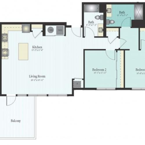 Floor Plan 50 | 2 Bed 2 Bath Floor Plan The Oak View 11