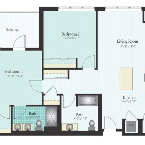 Floor Plan 45 | Apartment For Rent In Glenview IL | Midtown Square