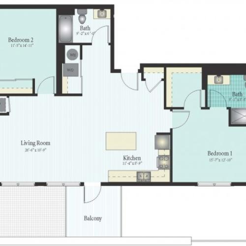 Floor Plan 54 | 2 Bed 2 Bath Floor Plan The Oak View 10