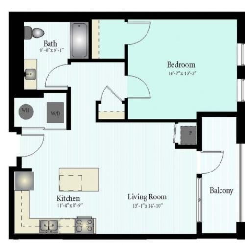 Floor Plan 4 | 1 Bed 1 Bath Floor Plan The Grove 9