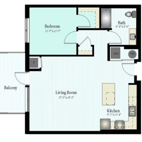 Floor Plan 29 | 1 Bed 1 Bath Floor Plan The Grove 14