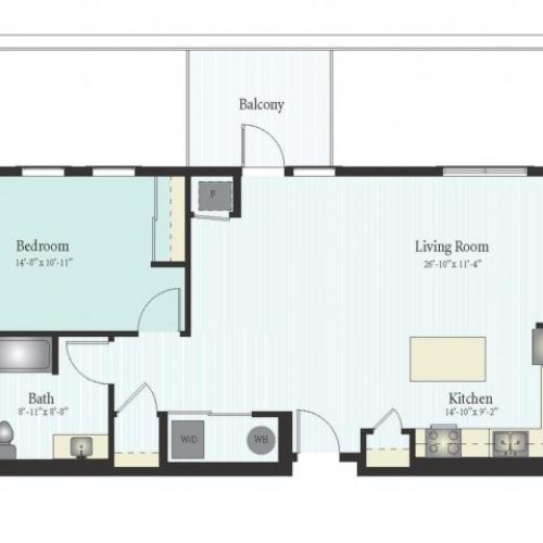 Floor Plan 3 | 1 Bed 1 Bath Floor Plan The Grove 15