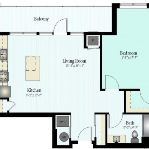 Floor Plan 8 | 1 Bed 1 Bath Floor Plan The Grove 13