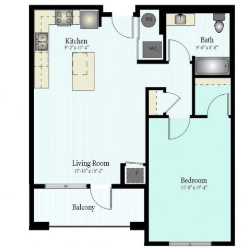 Floor Plan 26 | 1 Bed 1 Bath Floor Plan The Grove 8