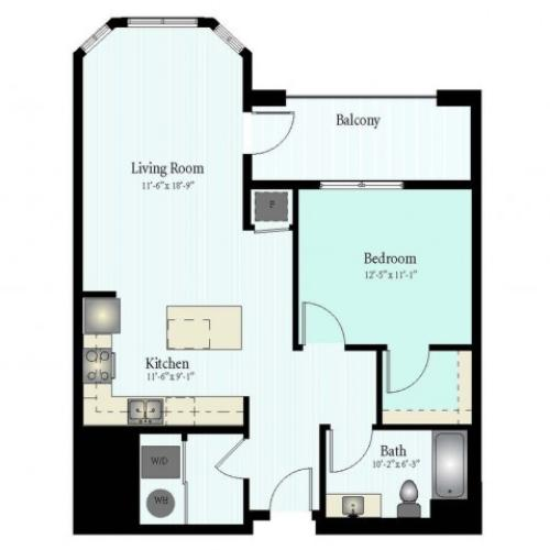 Floor Plan 13 | 1 Bed 1 Bath Floor Plan The Grove 11