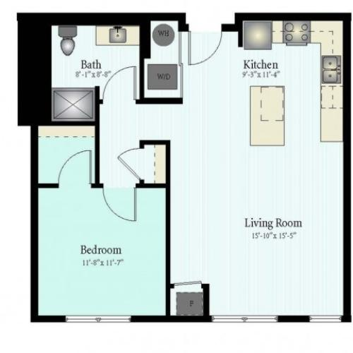 1 Bed 1 Bath Floor Plan The Northfield 4