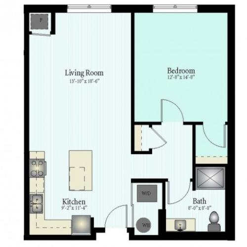 Floor Plan 20 | 1 Bed 1 Bath Floor Plan The Northfield 5