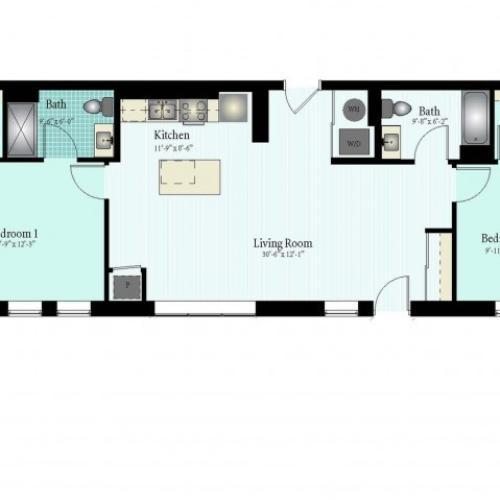 Floor Plan 48 | 2 Bed 2 Bath Floor Plan The Glendale 6