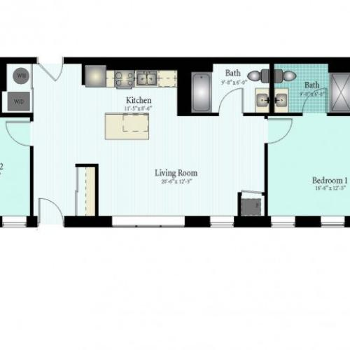 2 Bed 2 Bath Floor Plan The Glendale 5