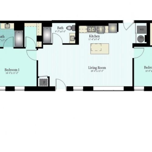 Floor Plan 32 | 2 Bed 2 Bath Floor Plan The Glendale 3