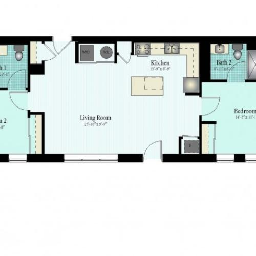 2 Bedroom Floor Plan | Apartments Near Glenview IL | Midtown Square