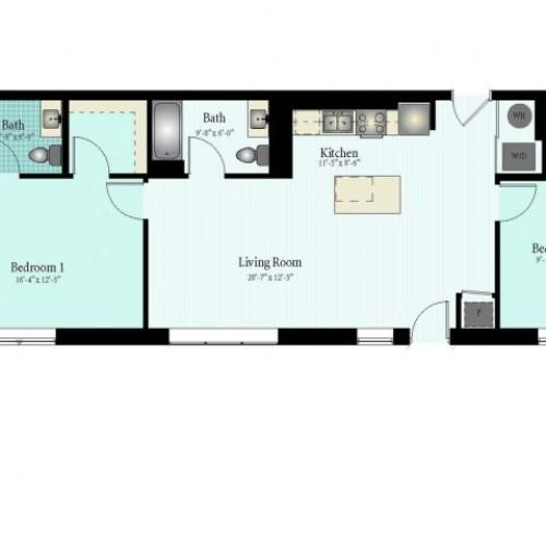 2 Bed 2 Bath Floor Plan The Glendale 7