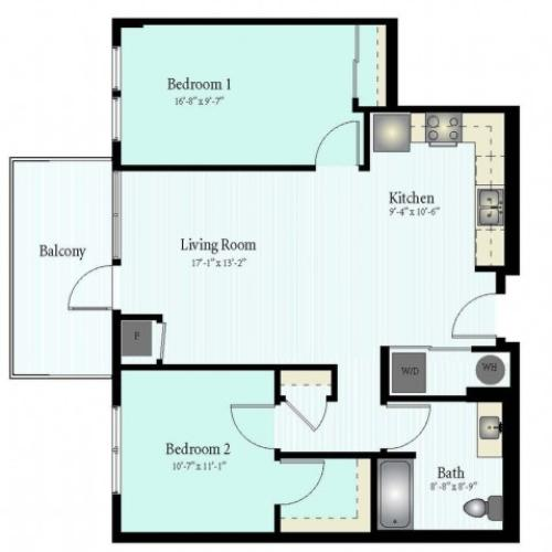 Floor Plan 51 | 2 Bed 1 Bath Floor Plan The Westbrook 1