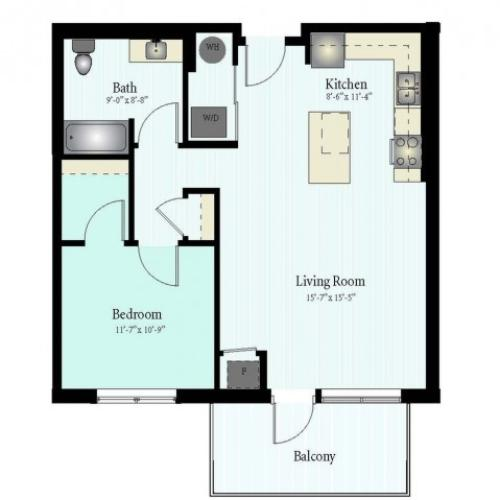 Floor Plan 43 | 1 Bed 1 Bath Floor Plan The Grove 4