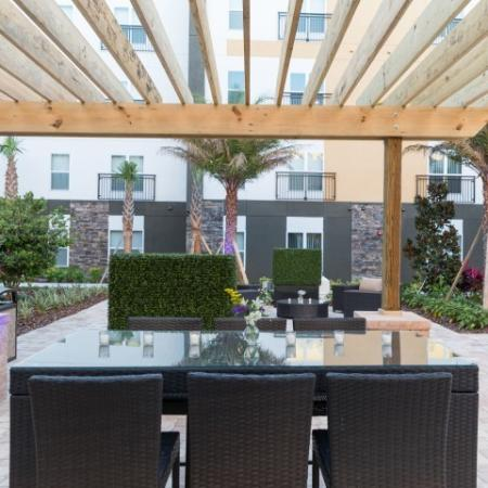Host a poolside lunch under the trellis