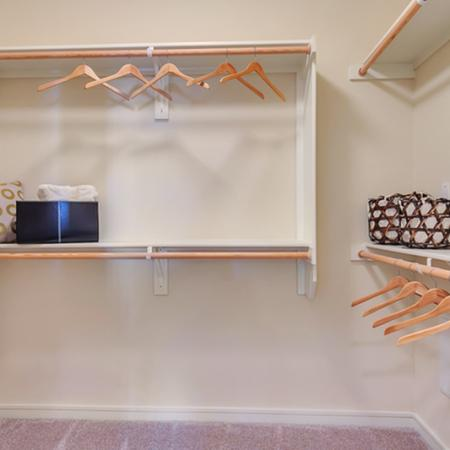 Oversized closets with Wood Shelving, Extra Storage.