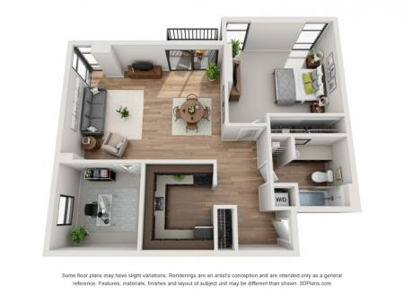 1 Bed 1 Bath Floor Plan A3