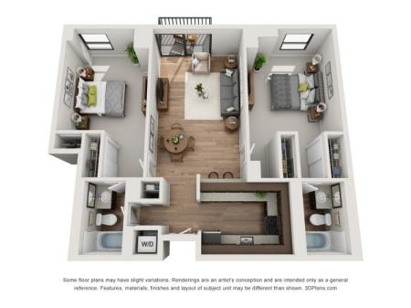 2 Bed 2 Bath Floor Plan B2